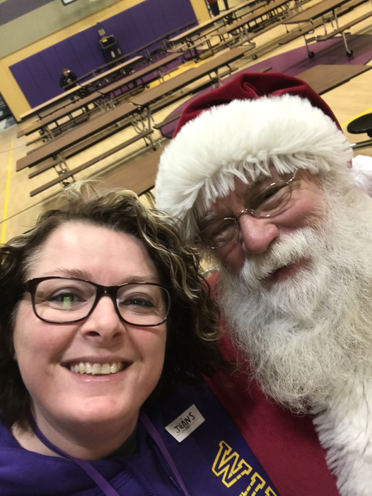 Mrs. Blackburn and Santa selfie.