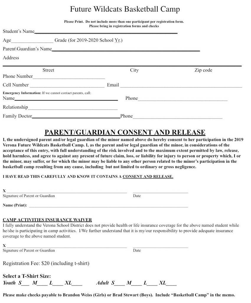 Basketball Camp Sign Up Form
