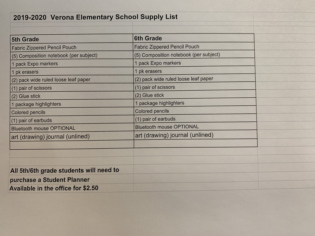 5th & 6th Supply List