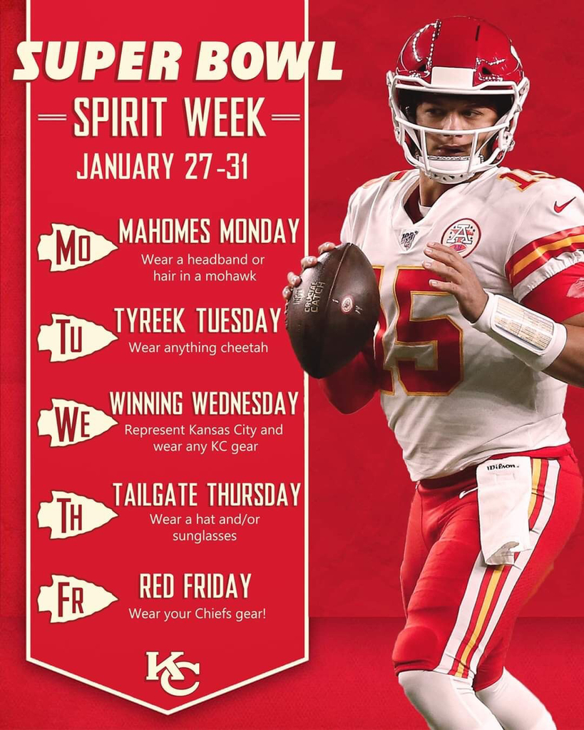Please help us cheer the Chiefs to a Super Bowl WIN! We will combine Thursday and Friday!