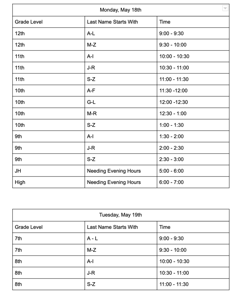 Chromebook Turn-In Schedule