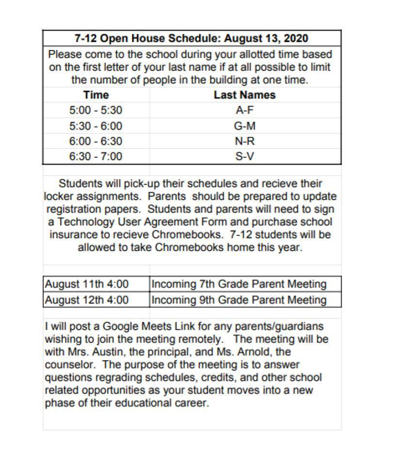 7-12 Open House Schedule